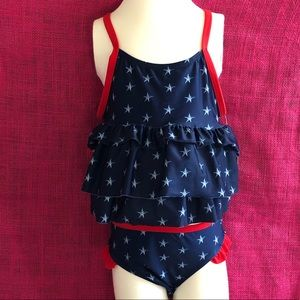 UFP 50+ Red/white/blue Swimsuit 4T